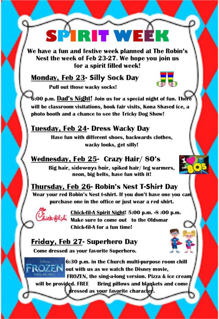 spirit week flyer for parents